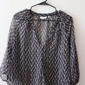 ZOA Black Sheer Transparent Blouse